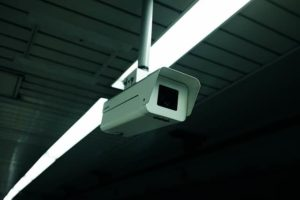 a security camera in a dark industrial building